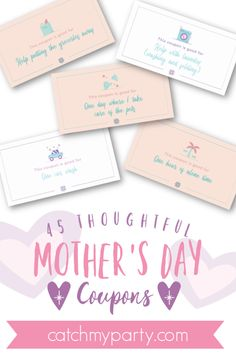 Download these FREE 45 thoughtful Mother's Day coupons! Check out this fun Help with laundry coupon! See more party ideas and share yours at CatchMyParty.com #catchmyparty #partyideas #mothersday #freemothersdayprinatbles #freemothersdaygift #mothersdaycoupons #freemothersdaycoupons Free Baby Shower Printables, Party Printables, Free Printables, Birthday Gifts For Boys, Boy Birthday, Homemade Gifts, Diy Gifts, Mother's Day Coupons, Mothers Day Crafts