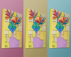 Still Life - Flower, Feather, and Vase Abstract (Painting No.