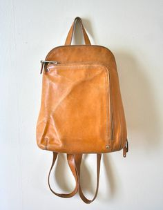 Boho Vintage Brown Leather Tignanello Small Backpack by MizRowdy