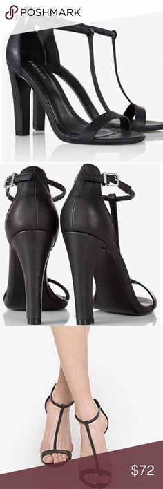 """NEW Express T-Strap Black Stilettos New never worn, no tags.  Express t-strap black 4"""" heels. Perfect condition, no makes on the soles. I do not trade. Please use the offer feature for negotiating price. Express Shoes Heels"""