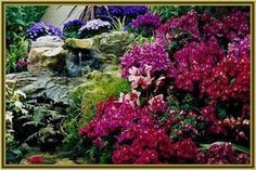 Pictures of Back Yard Flower Gardens | Flower Garden, colorful, floral, flowers, fountain, garden, landscape ...