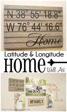 Latitude and Longitude {Home} Wall Art {www.homemadeinterest.com}