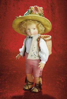 Many Wonderful Things : 28 Italian Felt Character Boy in Tyrolean-Style Costume,Series 300,by Lenci