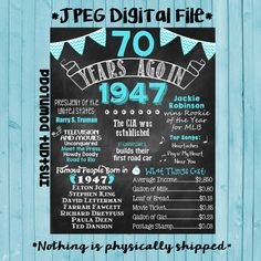 70th Birthday Chalkboard 1947 Poster 70 Years Ago in 1947 Born in 1947 70th Birthday Gift INSTANT DOWNLOAD