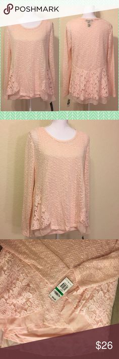 """NWT Style & Co Pink Knit & Lace Top Size L.  MSRP $59.  Lace & chiffon detailing on shell - really beautiful!  Has a detachable pink tank.  Asymmetric hem.  Length from shoulder to hem: 29"""".  Bust: 40"""".  Waist: 40"""".  Bottom: about 54"""" around.  Sleeve length: 24.5"""".  Cuff width: 4"""".  Poly cotton blend.  Machine wash cold.     Love it but not the price - I'm open to (reasonable) offers or consider bundling 2 or more items for an additional 15% off and combined shipping!    Check out my reviews…"""