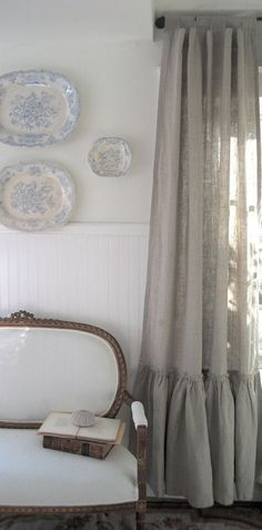 LAST in STOCK Natural Vintage Ruffle Linen Curtains . $240.00, via Etsy.