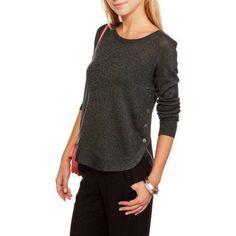 Concept's Womens Curved Hem Sweater, Women's, Size: XL, Black