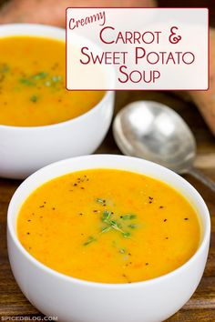 This Creamy Carrot + Sweet Potato Soup is a healthy and delicious way to balance the holiday sweets and treats! #SimplyHealthy #ad