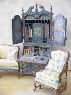French Country hand painted secretary desk and painted silks by Maritza Miniatures