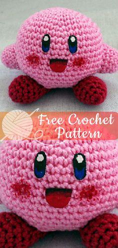 Kirby Crochet Free Patterns All About Crochet Knitting Crochet Ideas - Amigurumi Crochet For Kids, Crochet Crafts, Crochet Yarn, Crochet Projects, Free Crochet, Crochet Toys, Crochet Baby Shoes, Crochet Beanie, Kawaii Crochet