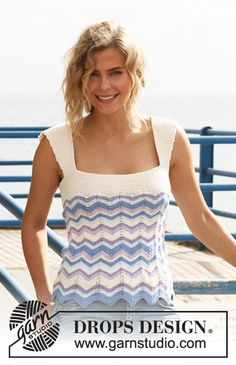 DROPS 128-3 Top - Free Knitted Pattern - (garnstudio)