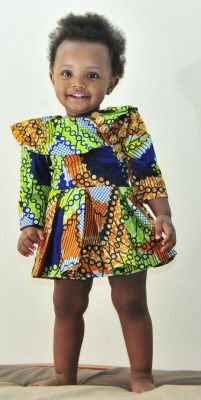 baby girl in Afro print dress