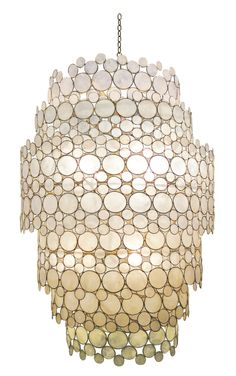 "Serena+Waterfall+Chandelier+-+Metal+Frame+with+Capiz+Shell;+Includes+Canopy+&+3ft+Chain *Seven+Bulbs+Not+to+Exceed+60W  26.5""DIAMETER+X+38.5""H"