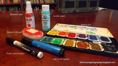 Which pens and paints will work in your journaling Bible.  Using matte gel medium and gesso to see what happens.