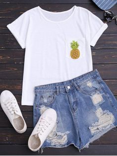Pineapple Cotton T-Shirt With Pocket