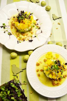 Frisches Türmchen! Avocado-Mozzarella-Mango-Salat mit Orangenvinaigrette Vinaigrette, Mozzarella Salat, Mango Salat, Avocado, Risotto, Buffet, Ethnic Recipes, Desserts, Celine