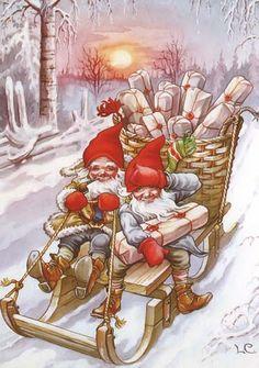 quenalbertini: Vintage Christmas by Lars Carlsson Swedish Christmas, Christmas Gnome, Christmas Scenes, Scandinavian Christmas, Christmas Past, Christmas Pictures, Winter Christmas, Christmas Crafts, Illustration Noel