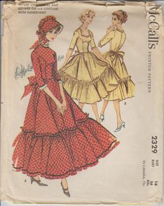 1959 Pioneer Dress Costume Vintage Sewing Pattern | Bonnet Pattern | McCall's 2329 | Size 16 | 50s Halloween Costume | 1950s Costume Pattern