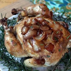 Slow Cooker Whole Chicken with Herbs & Caramelized Onions