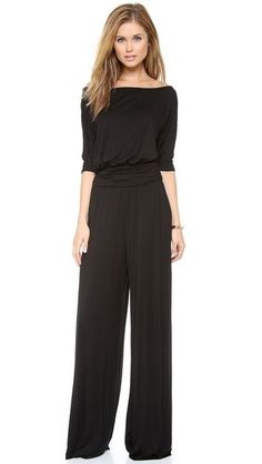 Super wide boatneck, dolman elbow sleeve, doesn't have cuff but could add one for slight blouson. Blouson waist, side shirred waistband at true waist or just below. Casual drapey pants, could knock off my pjs for the best fit.