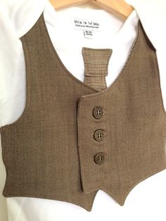 Toddler clothing 18 to 24 months brown vest by ThisisLullaby