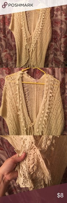 Altard state lace up the front shrug. Size L. Altard state lace up the front shrug. Size L. Only worn once. Fringe at the bottom. Light weight, perfect shrug for fall. Altar'd State Sweaters Shrugs & Ponchos