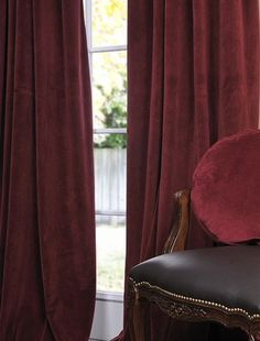 Burgundy Grommet Velvet Blackout Curtains
