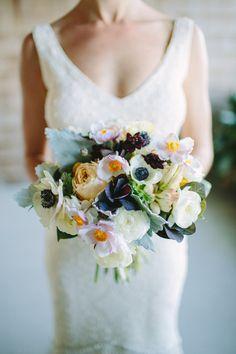 white, deep purple, pale pink and golden yellow bridal bouquet | photo: julia-wade.com | floral design: kimfisherdesigns.com