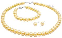 Bride's statement jewelry - yellow pearls.