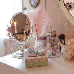 for the vanity Makeup Vanity Storage, Shabby Chic Style, Decoration, Vignettes, French Vintage, Pink White, Eye Candy, Mirror, Retro