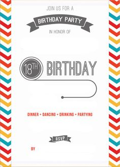 Cool Free Printable 18th Birthday Invitation Template Party Wording Invitations