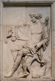 Bacchus (Dionysus), Roman relief (marble), 1st century AD, (Museo Archeologico Nazionale, Naples).