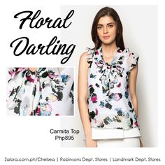 Take Carmita Top from desk to dinner. It features a printed floral design with bow and ruffled detail on the neckline which makes anyone wearing it an instant darling. 😉   #shopping #style #fashion #fbloggers #fbloggersuk #zaloraph #robinsonsdeptstore #landmarkphil #philippines