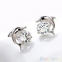 Wish | Women's Fashion Jewelry Cute Dolphin 925 Sterling Silver Crystal Rhinestone Zircon Earrings Studs (Size: One Size, Color: Silver)