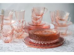 pink depression glass- obsessed!