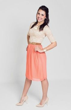 Madison Modest Dress in Beige/Coral. Lots of other cute modest dresses as well.