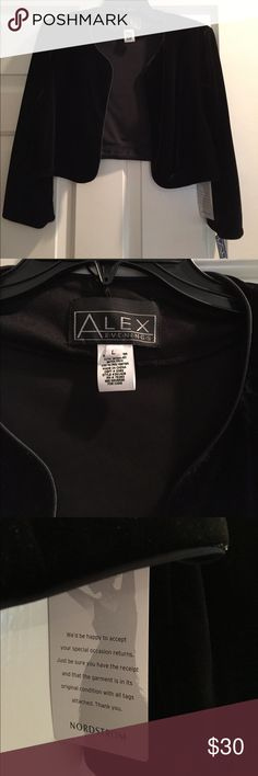 ALEX Black Velvet Evening Jacket - Size Large NWT black velvet evening jacket, bought several for gala evening - see my other listing Perfect velvet shrug for special nights! Alex Evenings Jackets & Coats