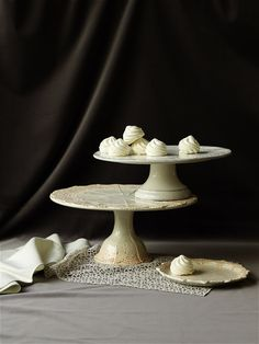 I collect cake stands. Doily Wedding, Wedding Decor, Wedding Ideas, Cake Pedestal, Dark Food Photography, Bhldn, Cake Plates, Mini Cakes, Along The Way