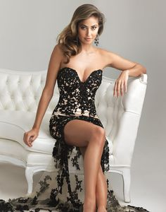 Black & Nude Satin & Lace Deep Sweetheart  - Unique Vintage - Cocktail, Pinup, Holiday & Prom Dresses.
