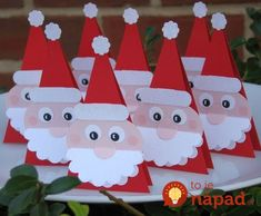 Santa Patties with a foil wrapped peppermint patty nested between the triangles. Cute for favors or gift tags. Christmas Activities, Christmas Crafts For Kids, Xmas Crafts, Christmas Decorations To Make, Christmas Projects, Simple Christmas, Diy Crafts For Kids, Paper Crafts, Christmas Favors