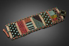 Mixy Cuff in Peach and Olive by Julie Powell (Beaded Bracelet)