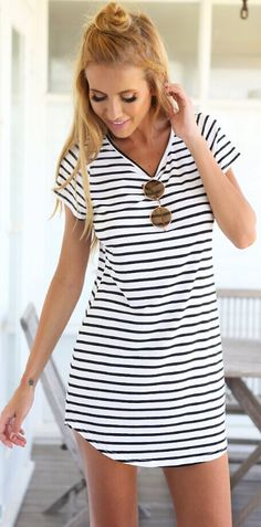 Black White Striped Print Shift Mini Dress.  Amazing price and free shipping, check it out at JASSIELINE.com