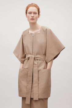 COS image 2 of Technical cotton-mix kimono coat in Beige