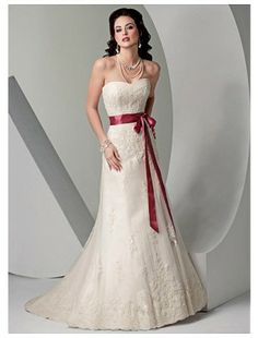 Trumpet Sheath Strapless Satin and Lace Sweep Train Beach Wedding Dress