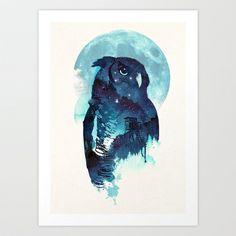 Midnight Owl Art Print by Robert Farkas - $19.00