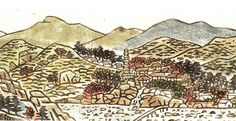 a traditional-Korean-style colored-ink painting of the Hwagye Valley by the artist Seon-eung, in 2005 scanned from Cha-in magazine