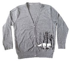 Kinder Shirt Fox, Kids Strickjacke, Kinderbekleidung Grey Running Fox / Wolf im Wald, Kinder-Schaltfläche oben Shirt, Kleinkind-Fuchs-Pullover