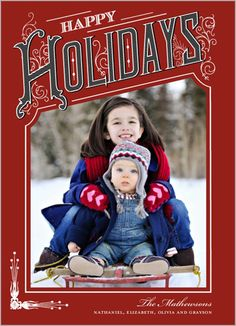 Vintage Holiday 5x7 Stationery Card by Yours Truly (with scalloped trim)