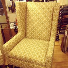 New in the showroom - Best Slipcover wing back chair.