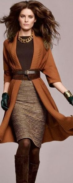 2013 Fall Classic Fashion: I don't like brown much and this sweater would be a horrible color for me, but I do love the look. If the sweater was a chocolate brown,  It might work for me or if the color palate was grey and black. I like how pulled together it looks.